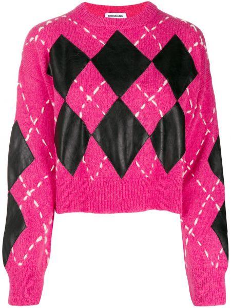 Prążkowany czarny sweter moherowy Brognano