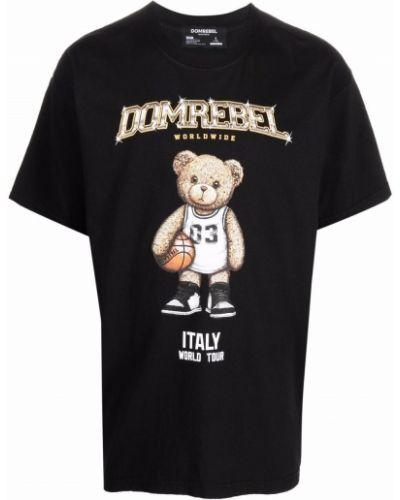 Czarna koszulka krótki rękaw Domrebel