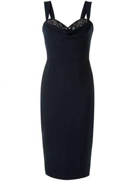 Черное коктейльное платье без рукавов Marchesa Notte