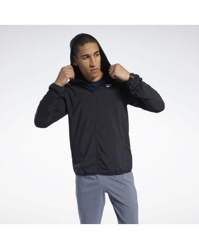 Тренировочная черная олимпийка с капюшоном Reebok