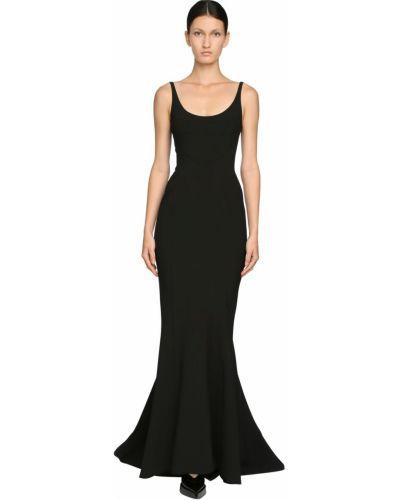 Платье со шлейфом - черное Mugler