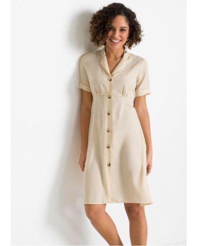 Платье рубашка - бежевое Bonprix