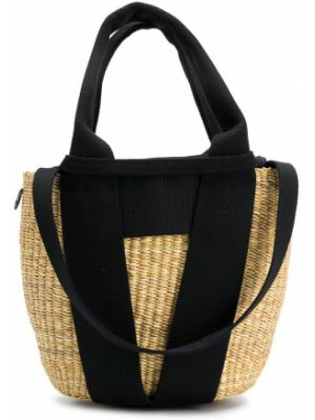 Хлопковая черная соломенная маленькая сумка Muun