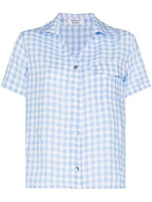 Синяя рубашка в клетку с короткими рукавами Frankie's Bikinis