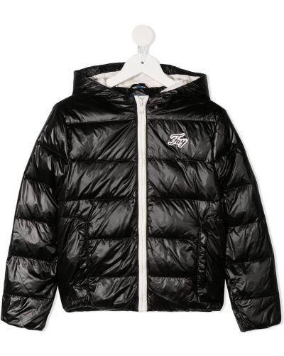 Пуховая классическая черная стеганая куртка с нашивками Fay Kids