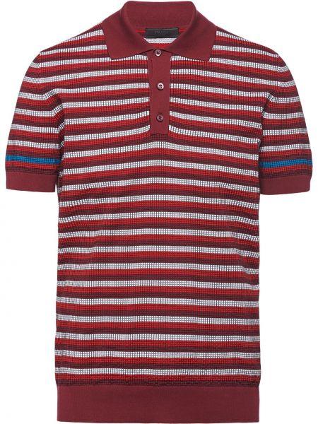 Koszula krótkie z krótkim rękawem z kołnierzem z paskami Prada