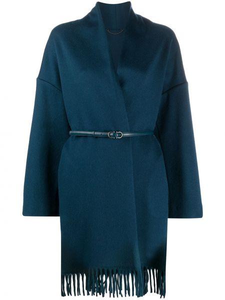 Синее кашемировое длинное пальто с капюшоном Salvatore Ferragamo