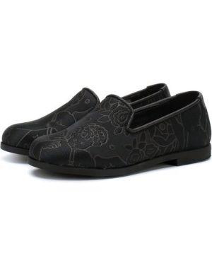 Туфли черные текстильные Dolce & Gabbana