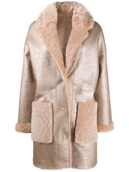Кожаное длинное пальто двустороннее свободного кроя S.w.o.r.d 6.6.44