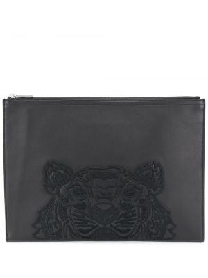 Черный кожаный клатч с вышивкой Kenzo