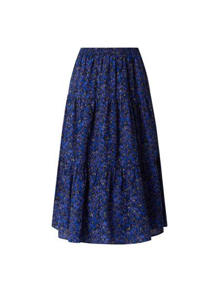 Fioletowa spódnica midi rozkloszowana z falbanami Lollys Laundry