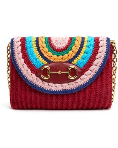 Хлопковая вязаная сумка на плечо Gucci