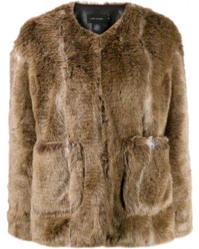 Коричневая длинная куртка круглая Low Classic