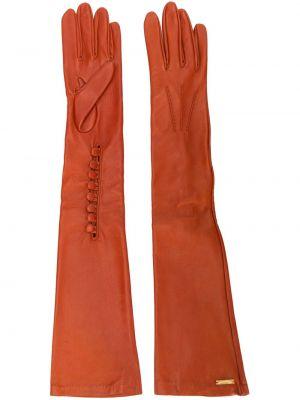 Перчатки длинные оранжевые на пуговицах Dsquared2