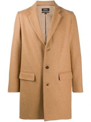 Однобортное бежевое шерстяное длинное пальто A.p.c.