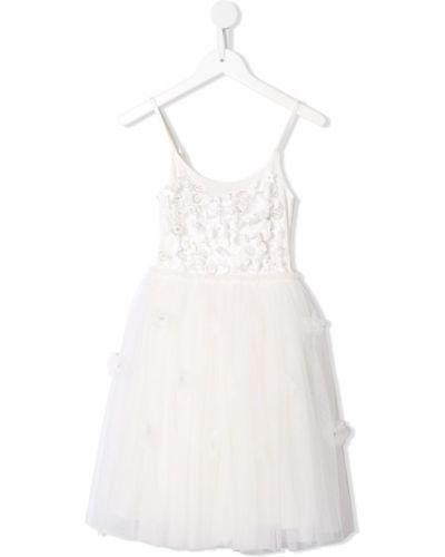 Пышное платье с вырезом круглое сетчатое с аппликациями Tutu Du Monde
