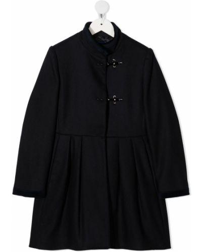 Темно-синее шерстяное пальто с длинными рукавами с воротником Fay Kids