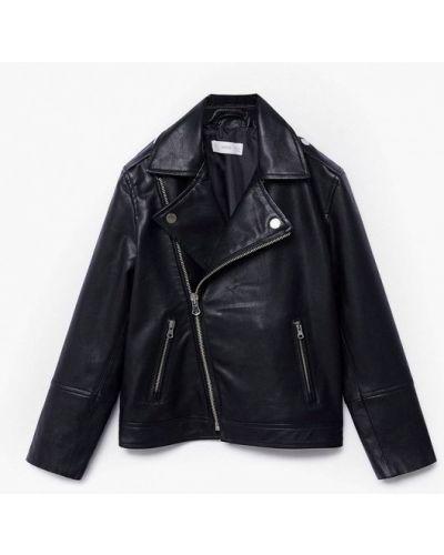 Облегченная черная кожаная куртка Mango Kids