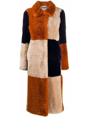 Оранжевая длинная шуба из искусственного меха с воротником Stella Mccartney