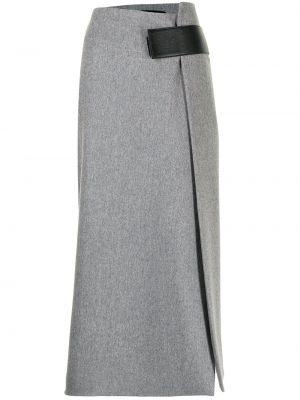 Шелковая юбка миди - серая Proenza Schouler