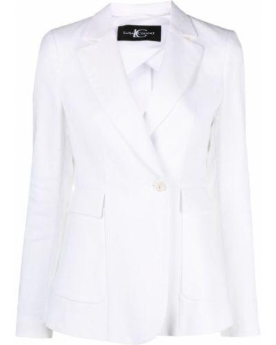Белый удлиненный пиджак с карманами на пуговицах Luisa Cerano