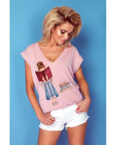 Bluzka asymetryczna - różowa Knitis