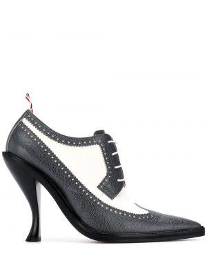 Buty brogsy skórzany biały Thom Browne