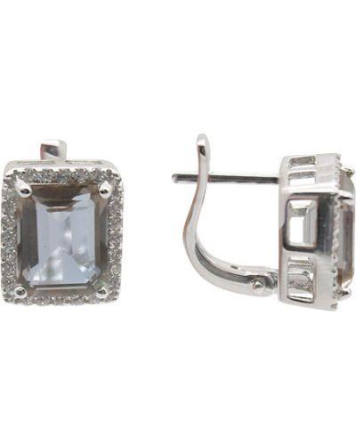Серебряные серьги с фианитом из серебра серебро россии