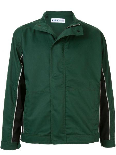 Zielona długa kurtka bawełniana z długimi rękawami Affix