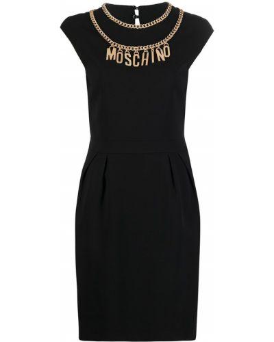 Czarny sukienka z wiskozy okrągły Moschino