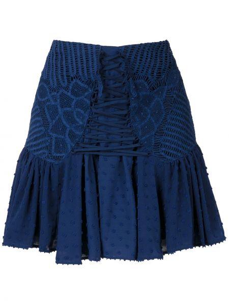 Ажурная синяя с завышенной талией юбка мини на молнии Martha Medeiros