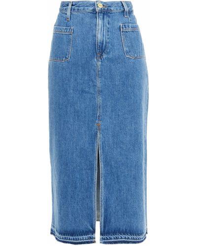Джинсовая юбка миди - синяя Frame