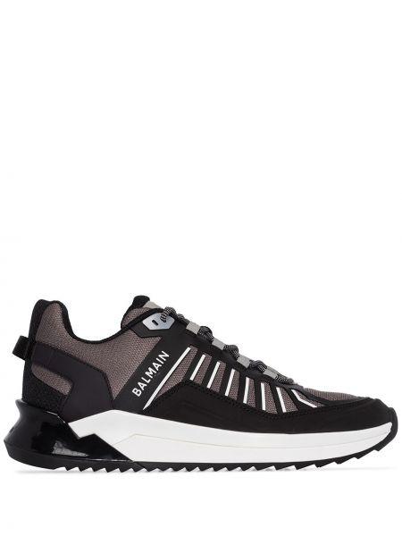 Черные кроссовки беговые на каблуке с заплатками для бега Balmain