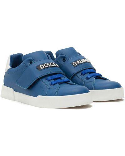 Niebieskie buty sportowe skorzane Dolce & Gabbana Kids