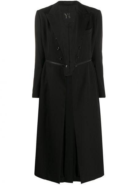 Шерстяное черное пальто с капюшоном Y's