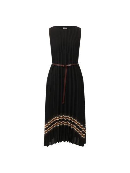 Платье макси серое с поясом Brunello Cucinelli