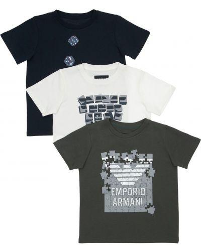 Zielony t-shirt bawełniany z printem Emporio Armani