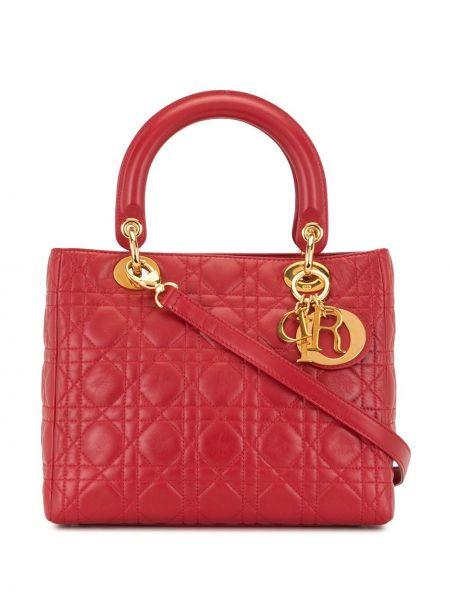 Кожаная стеганая красная сумка на плечо Christian Dior