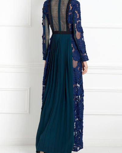 Платье макси ажурное синее Self-portrait