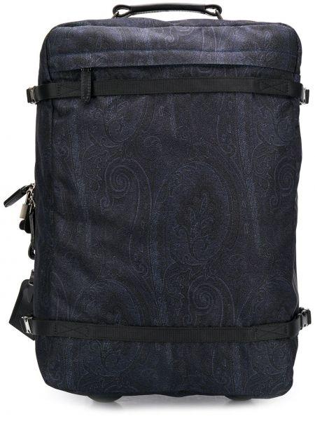 Синий нейлоновый чемодан на молнии Etro