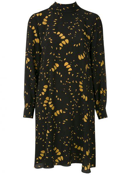 Шелковое черное платье макси с длинными рукавами Andrea Marques