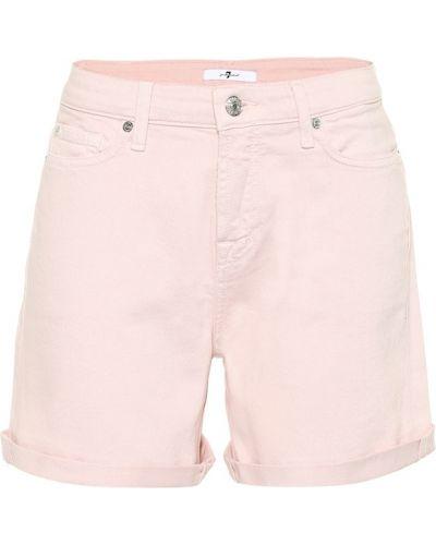 Джинсовые шорты с завышенной талией розовый 7 For All Mankind