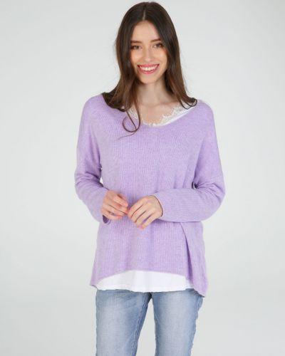 Фиолетовый ажурный джемпер с вырезом Unisono