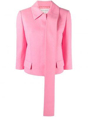 Шелковый розовый классический пиджак с карманами Alexander Mcqueen