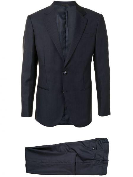 Костюмный шерстяной синий костюм-тройка Giorgio Armani