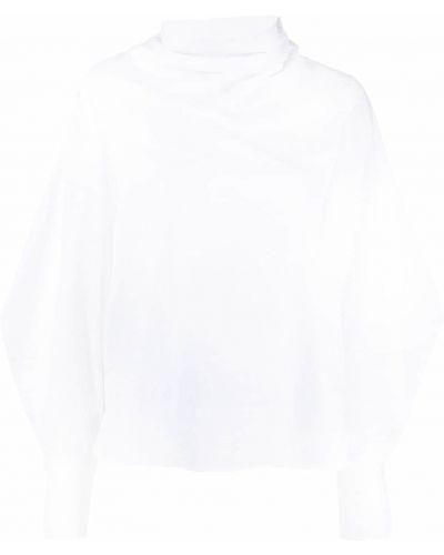 Хлопковая белая блузка с длинным рукавом с воротником на пуговицах Tela