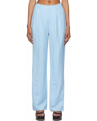 Niebieskie lniane spodnie z paskiem srebrne Danielle Guizio
