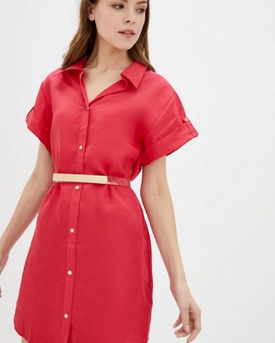 Красное платье-рубашка Ora