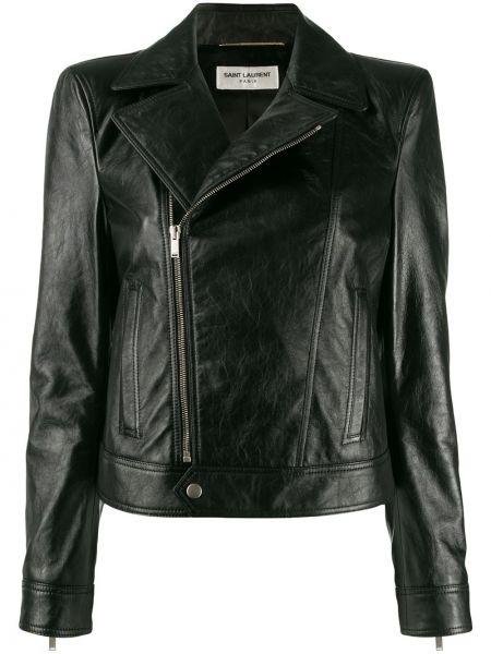 Кожаная куртка короткая - черная Saint Laurent
