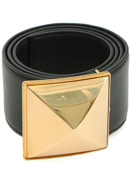 Золотистый кожаный черный ремень с пряжкой Stella Mccartney